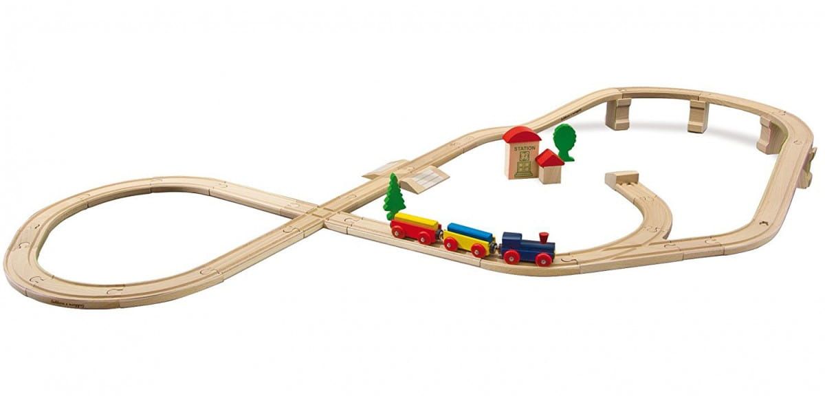 Набор железной дороги Eichhorn с мостом и тупиком - 45 деталей