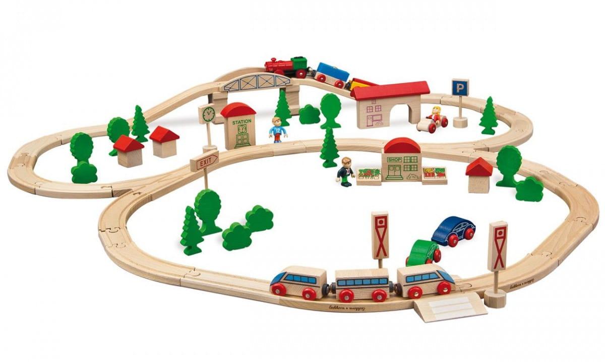 Набор железной дороги Eichhorn 100001205 с мостом и двумя поездами - 81 деталь