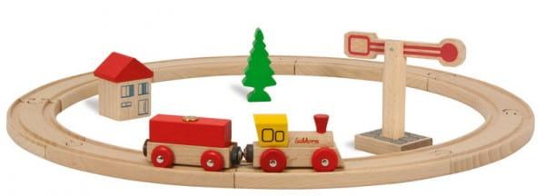 Купить Стартовый набор деревянной железной дороги Eichhorn - 15 деталей в интернет магазине игрушек и детских товаров