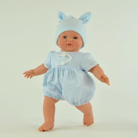 Купить Кукла-пупс Mama Ciguena Popo Asi - 36 см (в голубой одежде) в интернет магазине игрушек и детских товаров