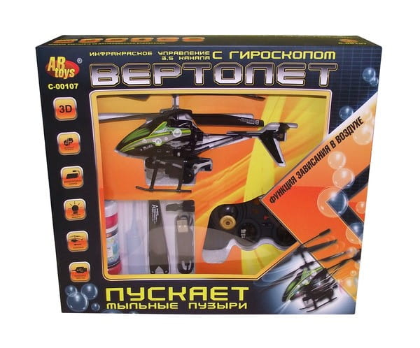 Купить Радиоуправляемый вертолет Abtoys с функцией пускания мыльных пузырей в интернет магазине игрушек и детских товаров