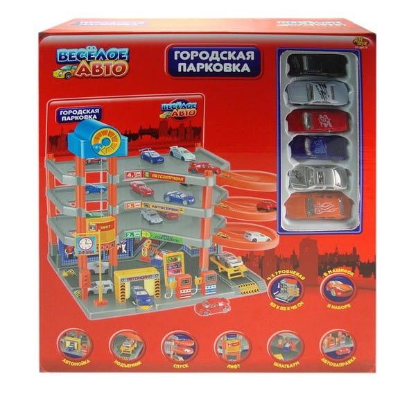 Купить Четырехуровневая парковка Abtoys Веселое авто с 6 машинками в интернет магазине игрушек и детских товаров