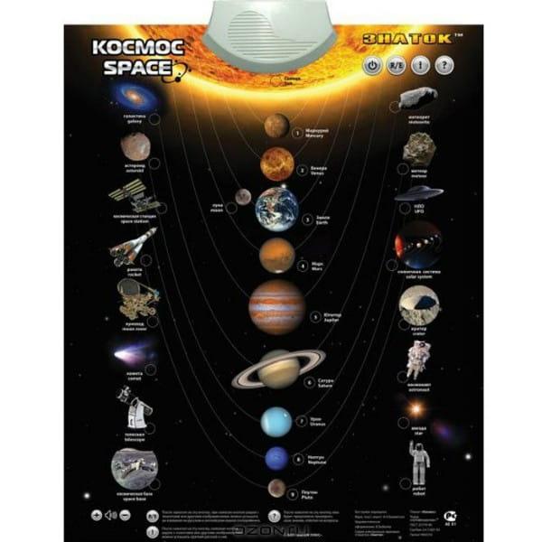 Купить Электронный звуковой плакат Знаток Космос в интернет магазине игрушек и детских товаров