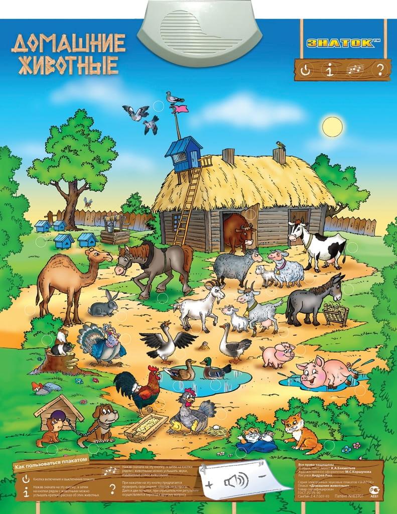Электронный звуковой плакат ЗНАТОК Домашние животные