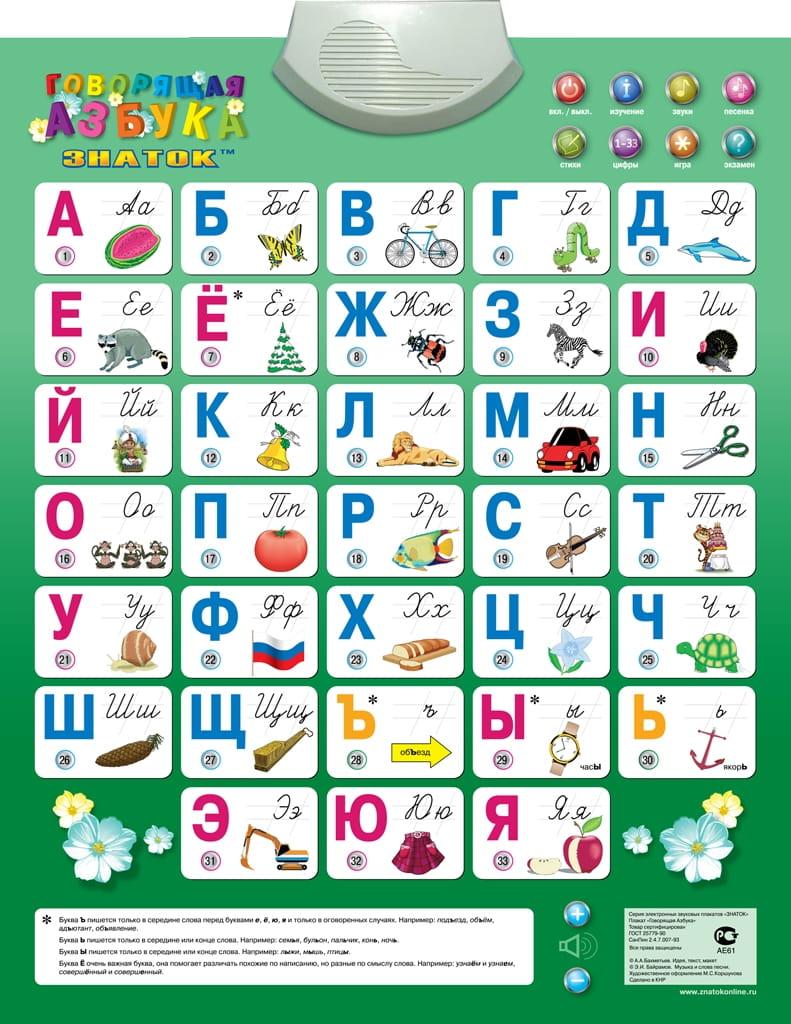 Электронный звуковой плакат Знаток PL-08-NEWru Говорящая азбука (8 режимов)
