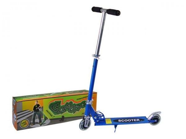 Купить Детский Самокат железный Pro Line - синий (светящиеся колеса) в интернет магазине игрушек и детских товаров