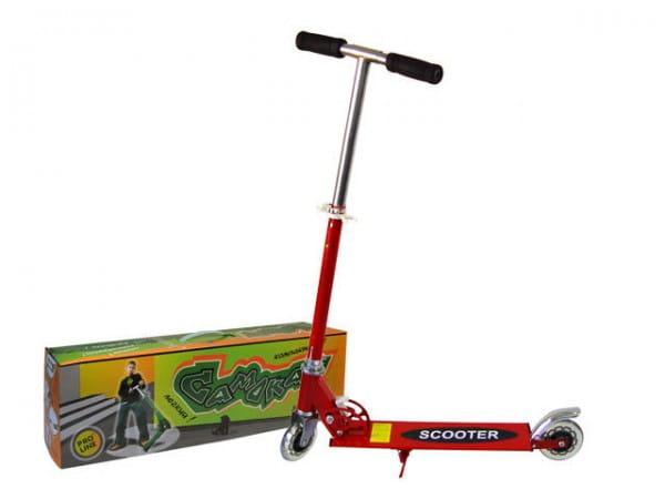 Купить Детский Самокат железный Pro Line - красный (светящиеся колеса) в интернет магазине игрушек и детских товаров