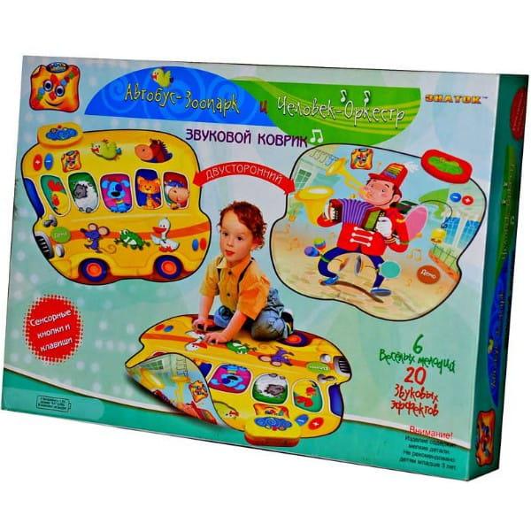 Купить Двусторонний звуковой коврик Знаток Автобус-зоопарк и Человек-оркестр в интернет магазине игрушек и детских товаров