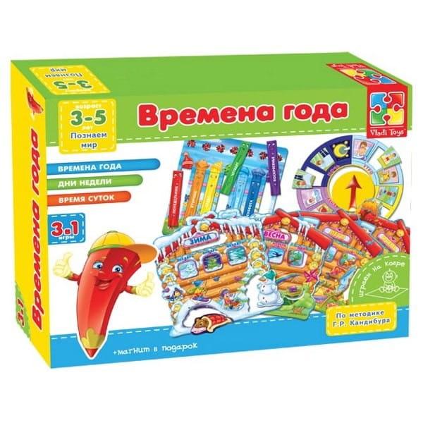Купить Развивающая настольная игра Vladi Toys Времена года (3 в 1) в интернет магазине игрушек и детских товаров
