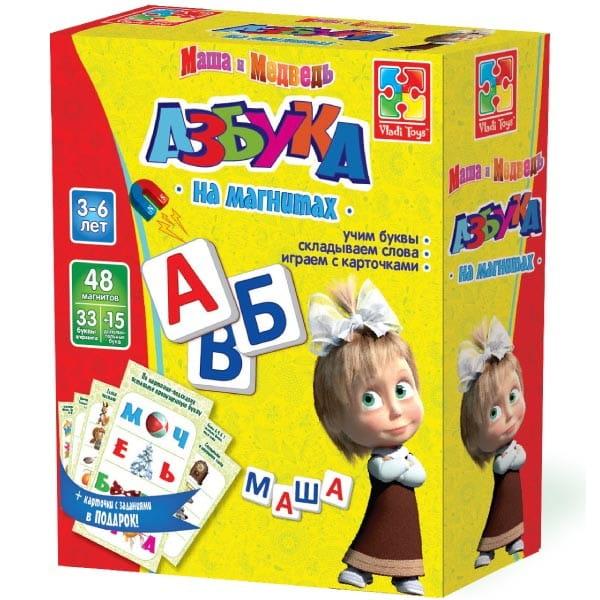 Купить Настольная игра Vladi Toys Азбука на магнитах (Маша и медведь) в интернет магазине игрушек и детских товаров