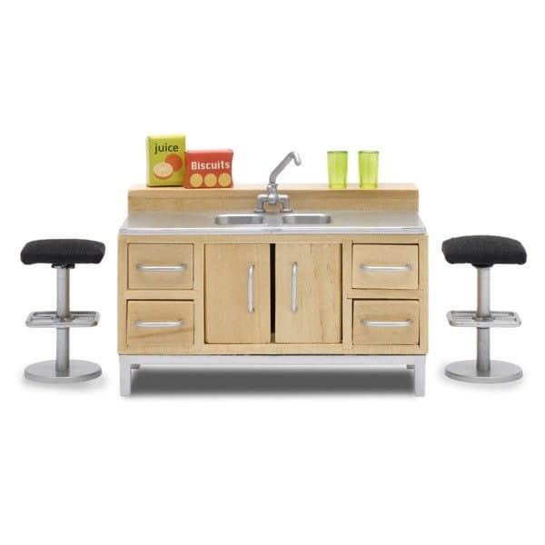 Набор мебели для домика Lundby Стокгольм Большая кухонная мойка с барной стойкой и стульями