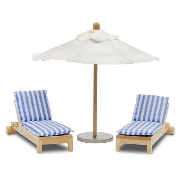 Купить Набор мебели для домика Lundby Стокгольм Лежаки с зонтиком от солнца в интернет магазине игрушек и детских товаров
