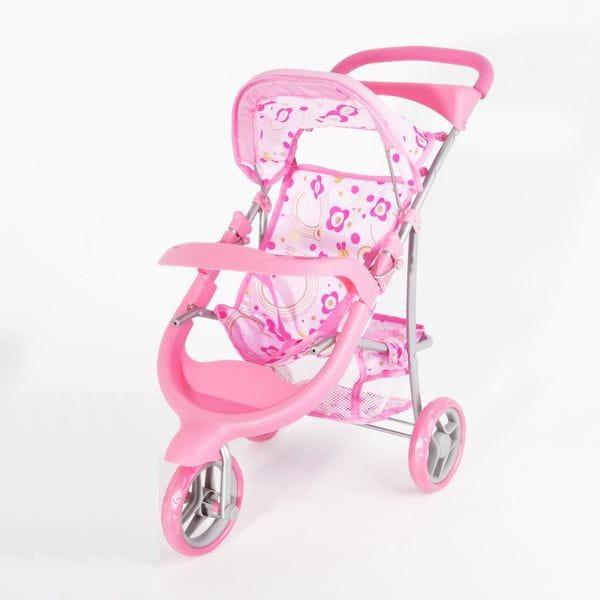 Купить Трехколесная металлическая коляска с козырьком и корзинкой Zhorya в интернет магазине игрушек и детских товаров