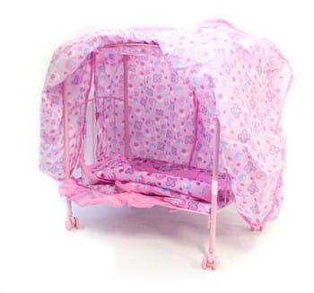 Купить Металлическая кроватка Melogo с балдахином (ножки на колесиках) в интернет магазине игрушек и детских товаров