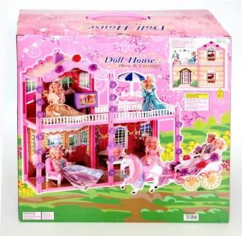 Дом для куклы Bondibon (с мебелью, каретой, лошадью) - 126 деталей