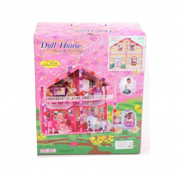 Дом для куклы Bondibon (с мебелью, каретой, лошадью) - 114 деталей