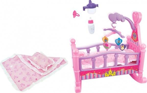 Купить Кровать с аксессуарами Zhorya Мама и Малыш (для куклы до 48 см) в интернет магазине игрушек и детских товаров