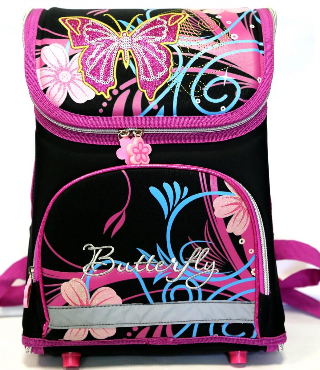 Ортопедический ранец-рюкзак Edu-Play RU443-11-1 Бабочки - черно-фиолетовый