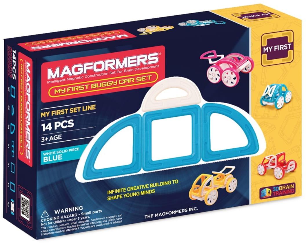 Магнитный конструктор Magformers 702007 (63146) My First Buggy Car - синий (14 деталей)