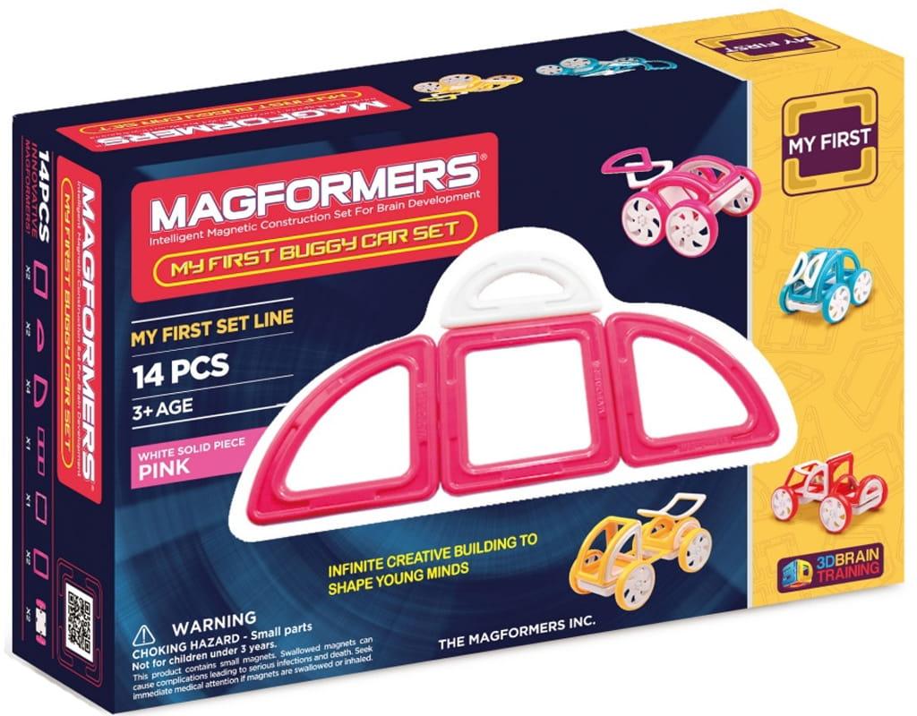 Магнитный конструктор Magformers 702008 (63147) My First Buggy Car - розовый (14 деталей)