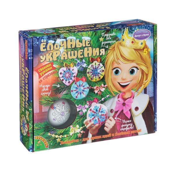 Купить Набор для творчества Bondibon Елочные украшения со стразами 2 (2 шарика, круг, сердце) в интернет магазине игрушек и детских товаров