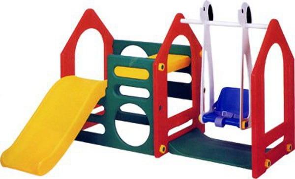 Игровой комплекс Haenim Toy Дом с горкой и качели