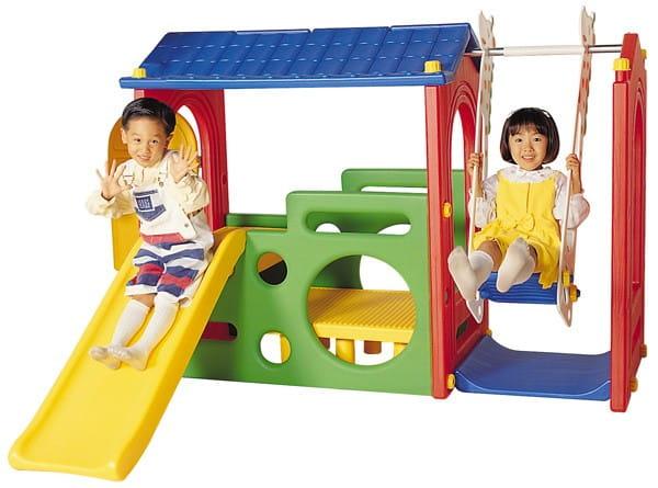 Купить Большой игровой центр Haenim Toy Дом с крышей, горка и качели в интернет магазине игрушек и детских товаров