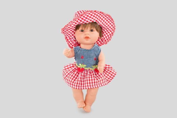 Кукла Carmen Gonzalez 12075 Бебетин - 21 см (в платье с ягодками и шляпке)