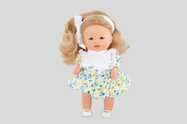 Кукла Carmen Gonzalez Бебетин - 21 см (в цветочном платье с ажурным нагрудником)