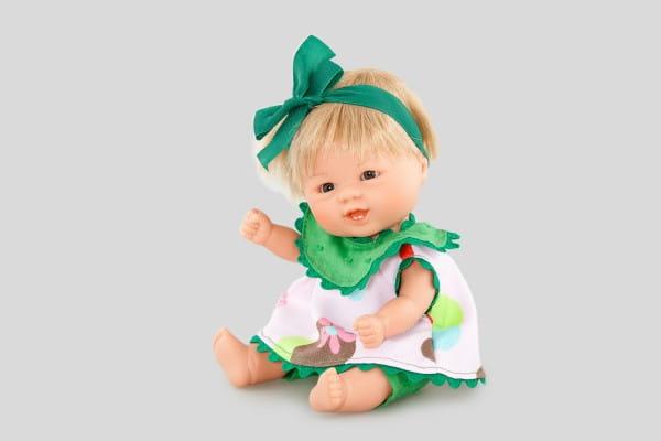 Кукла Carmen Gonzalez 12456 Бебетин - 21 см (в платье с зеленым жабо и бантиком)