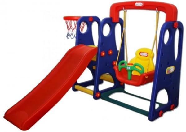 Купить Игровой комплекс Happy Box с горкой, баскетбольным кольцом и качелями (на веревке) в интернет магазине игрушек и детских товаров