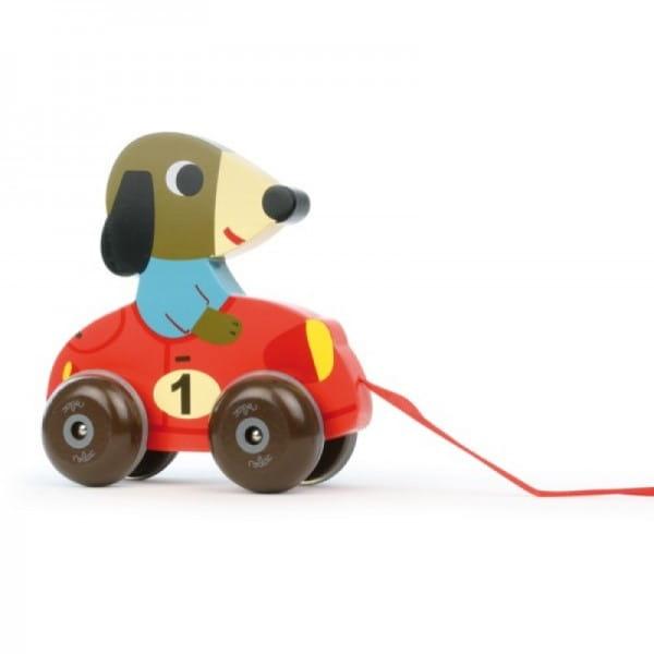 Купить Каталка с веревочкой Vilac Собачка Альберто в интернет магазине игрушек и детских товаров