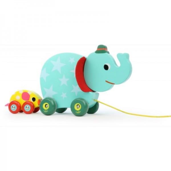 Каталка с веревочкой Vilac Слон и мышка