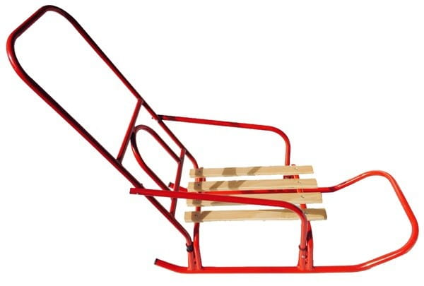 Купить Металлические санки River Toys с деревянным сидением и высокой ручкой - 45 см в интернет магазине игрушек и детских товаров