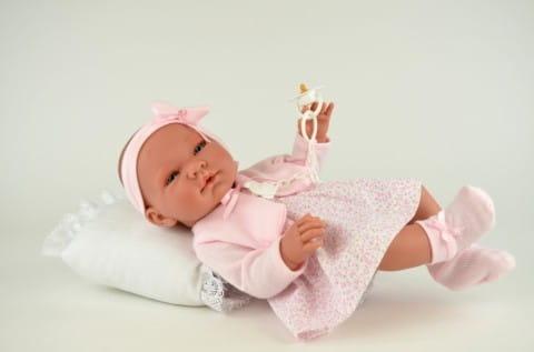Кукла-пупс Asi Мария - 45 см (в платье в мелкий розовый цветочек)