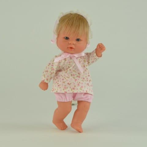 Купить Кукла-пупс Mama Ciguena Peque Asi - 20 см (в кофте в розовый цветочек) в интернет магазине игрушек и детских товаров