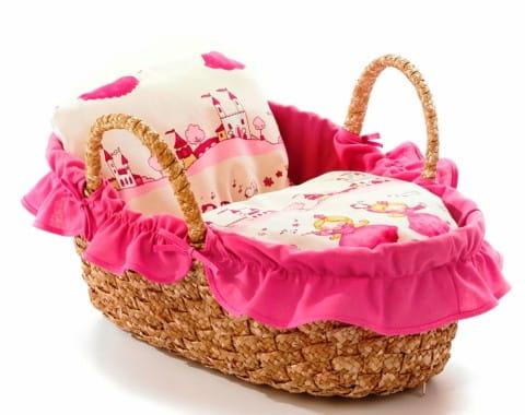 Купить Плетеная переноска для куклы Asi Chic Buyer 2000 - 40 см (розовая) в интернет магазине игрушек и детских товаров