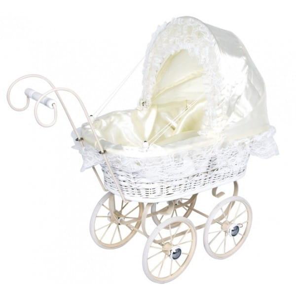 Купить Коляска из ротанга Legler Asi Белоснежная в интернет магазине игрушек и детских товаров