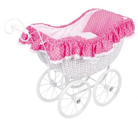 Купить Коляска из ротанга Legler Asi С розовой драпировкой в интернет магазине игрушек и детских товаров