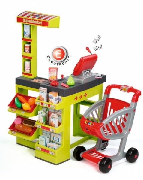 Купить Супермаркет с тележкой - зеленый (Smoby) в интернет магазине игрушек и детских товаров