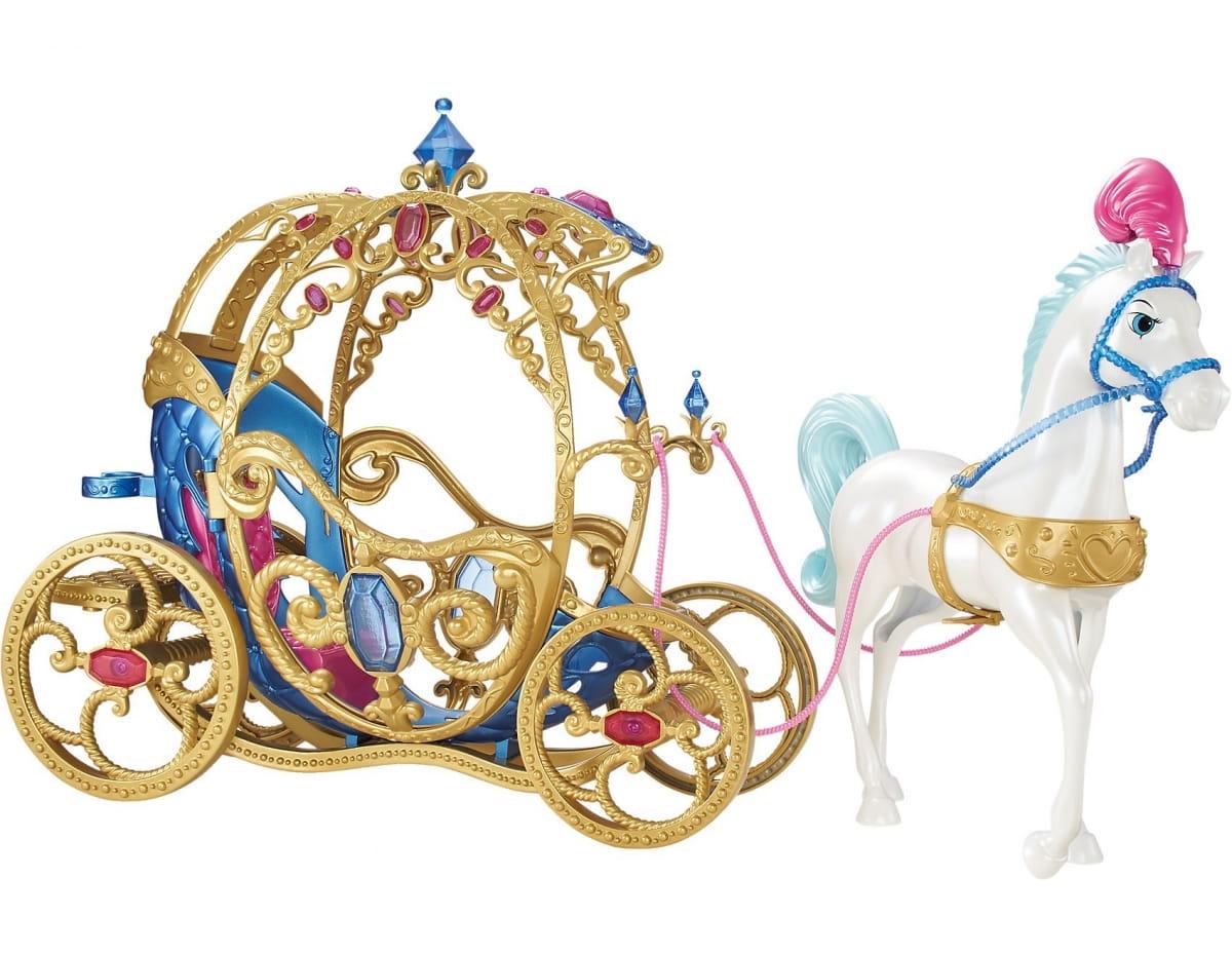 Игровой набор Disney Princess CDC44 Лошадь с каретой для Золушки (Mattel)