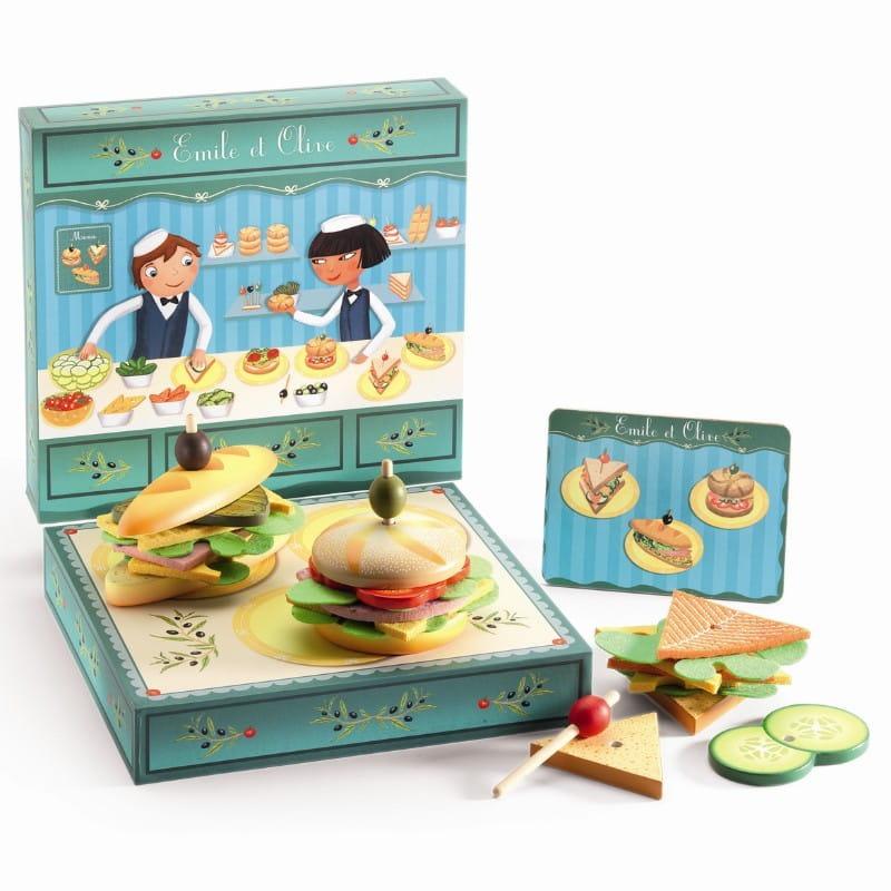Игрушечные деревянные сэндвичи от Эмиля и Олив Djeco 06620