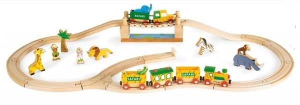 Железная дорога Janod bj08543 Сафари - 17 элементов (12 игрушек, поезд)