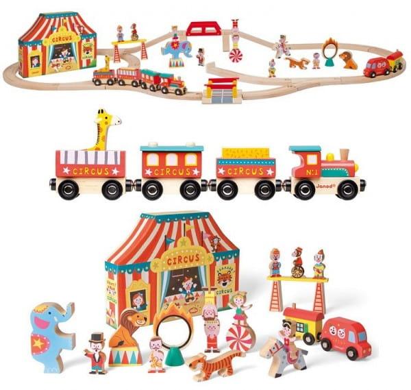 Игровой набор Janod Цирк - 26 элементов (19 игрушек, поезд)