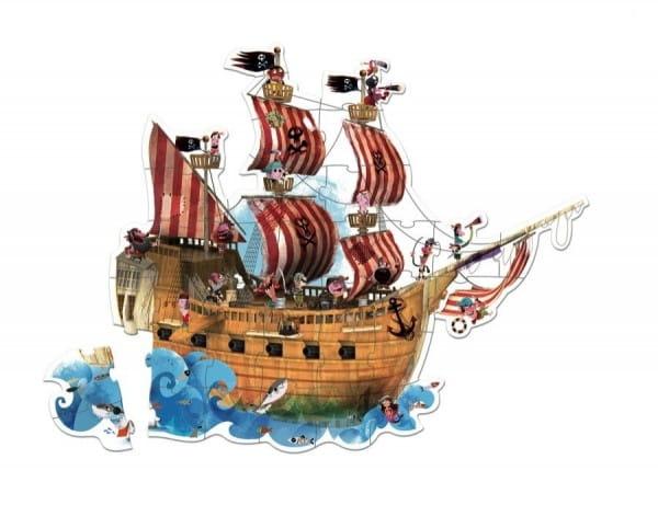 Купить Большой пазл в круглом чемоданчике Janod Пиратский корабль - 39 элементов в интернет магазине игрушек и детских товаров