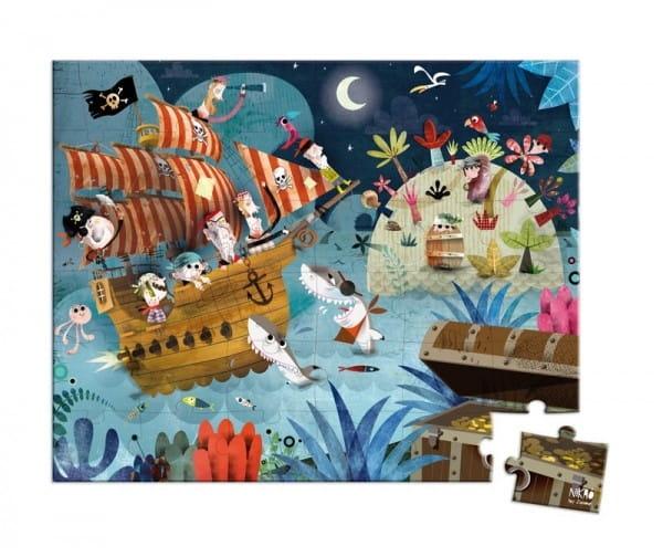 Купить Большой пазл в круглом чемоданчике Janod Поиск сокровищ - 36 элементов в интернет магазине игрушек и детских товаров