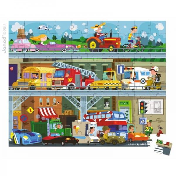 Купить Большой пазл в круглом чемоданчике Janod Транспорт - 100 элементов в интернет магазине игрушек и детских товаров
