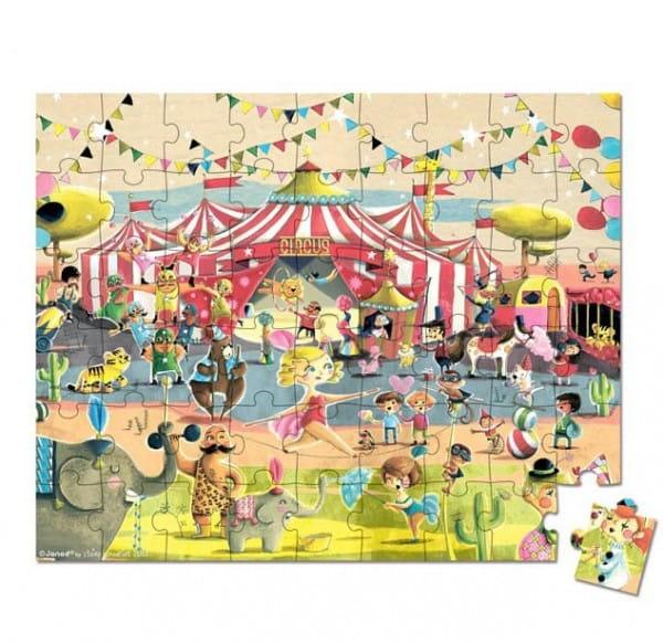 Купить Большой пазл в круглом чемоданчике Janod Цирк - 54 элементов в интернет магазине игрушек и детских товаров