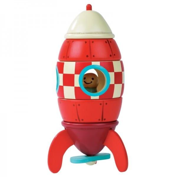 Купить Деревянный магнитный конструктор Janod Ракета в интернет магазине игрушек и детских товаров