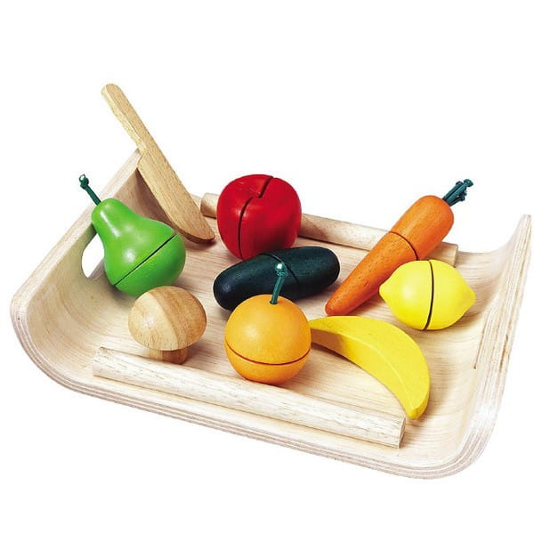 Купить Деревянный игрушечный набор Plan Toys Фрукты и овощи в интернет магазине игрушек и детских товаров